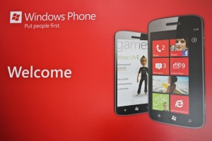 A microsoft promotional image for the windows 8 phone release.