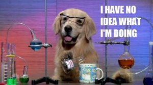 "A picture of a dog with chemistry equipment, with the text ""I have no idea what I'm doing"""